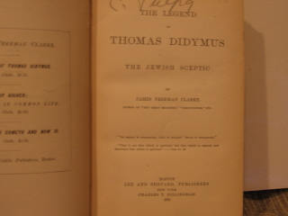 Image for The Legend of Thomas Didymus. The Jewish Sceptic.